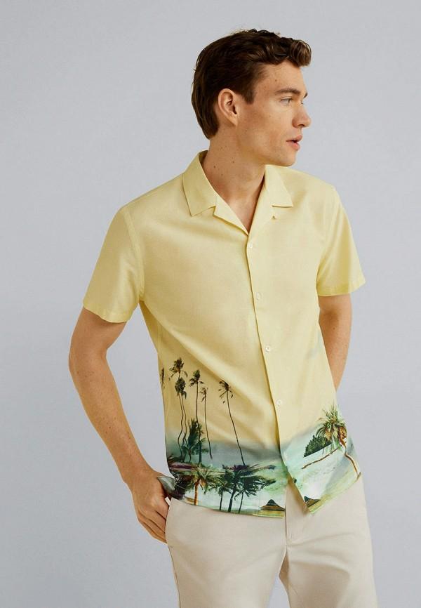 мужская рубашка с коротким рукавом mango man, желтая