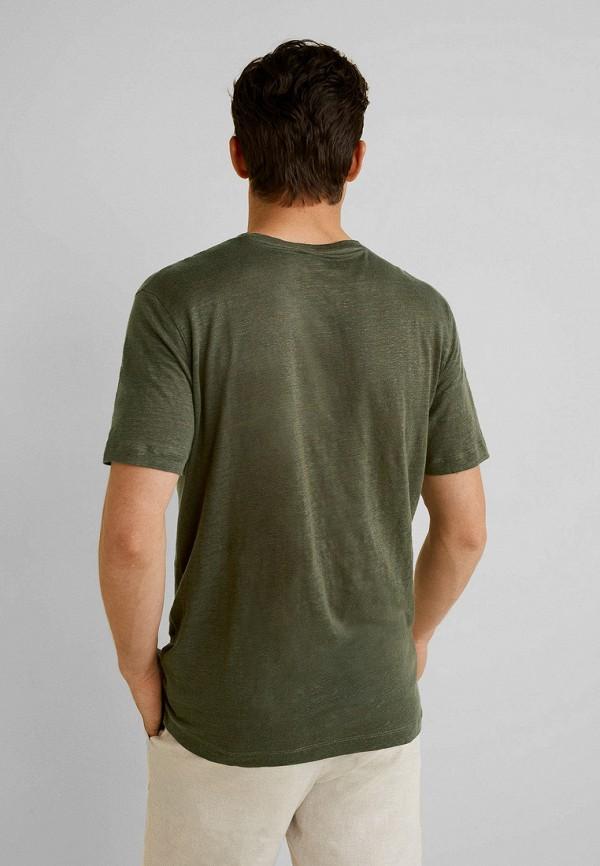 Фото 2 - мужскую футболку Mango Man цвета хаки
