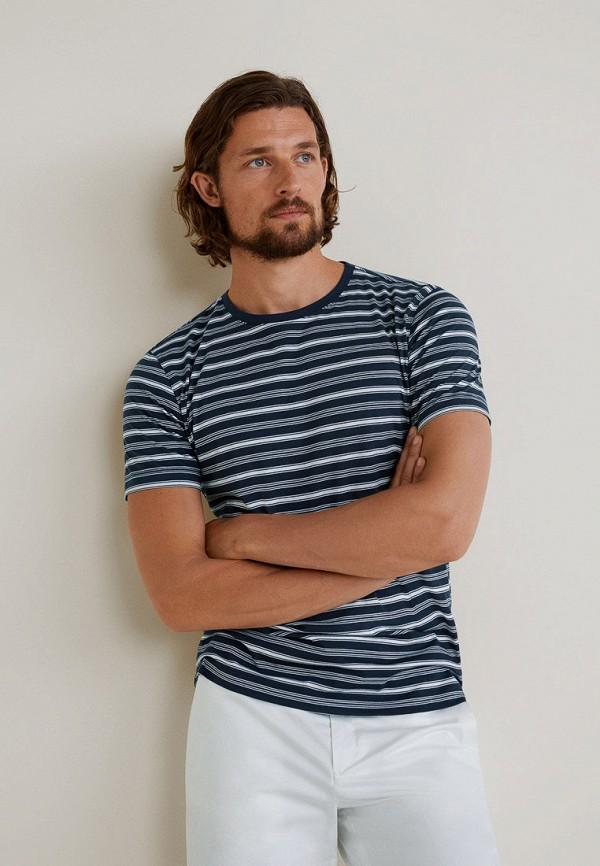 мужская футболка с коротким рукавом mango man, синяя