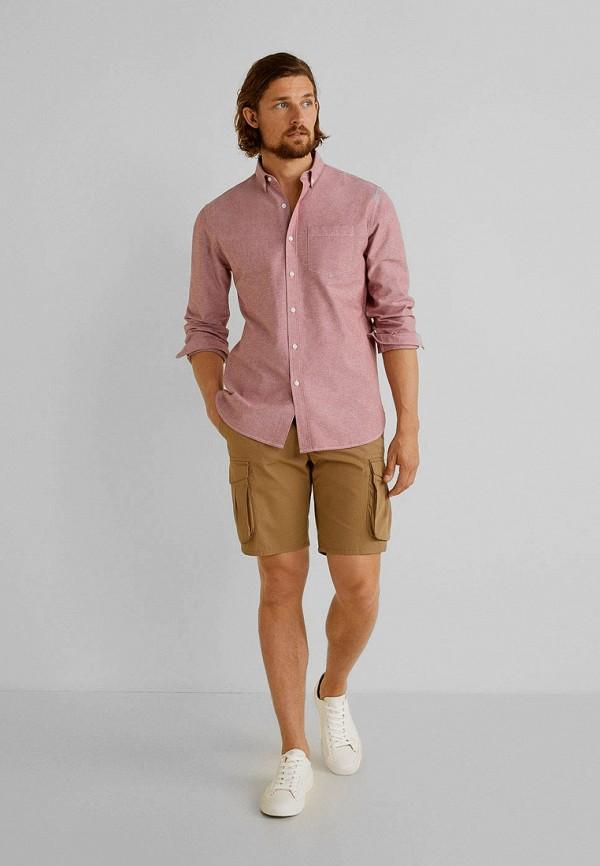 Фото 2 - мужскую рубашку Mango Man розового цвета