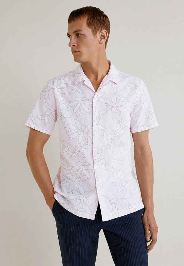 мужская рубашка с коротким рукавом mango man, розовая