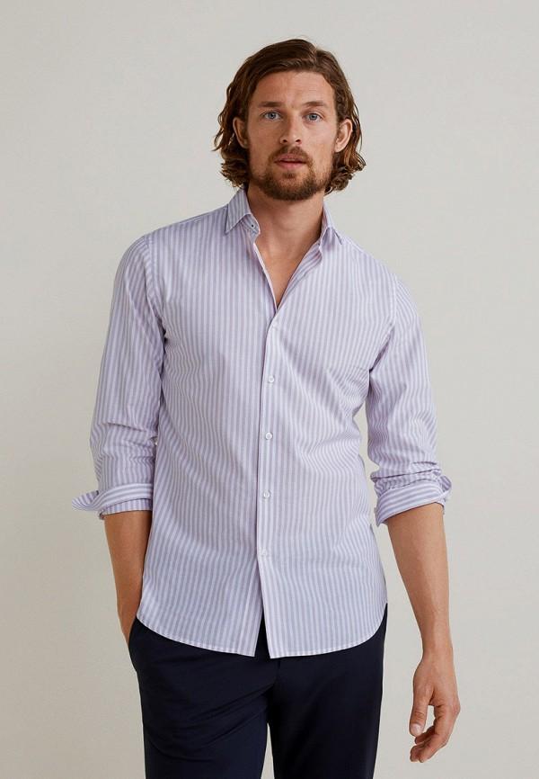 мужская рубашка с длинным рукавом mango man, фиолетовая