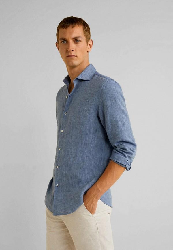 Купить мужскую рубашку Mango Man синего цвета
