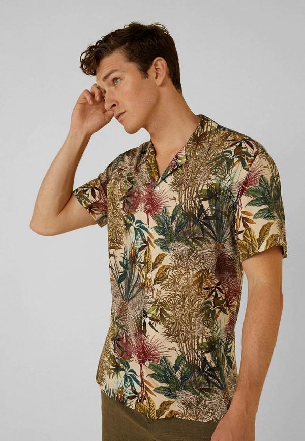 мужская рубашка mango man, бежевая