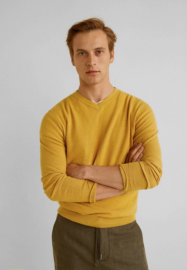 мужской пуловер mango man, желтый
