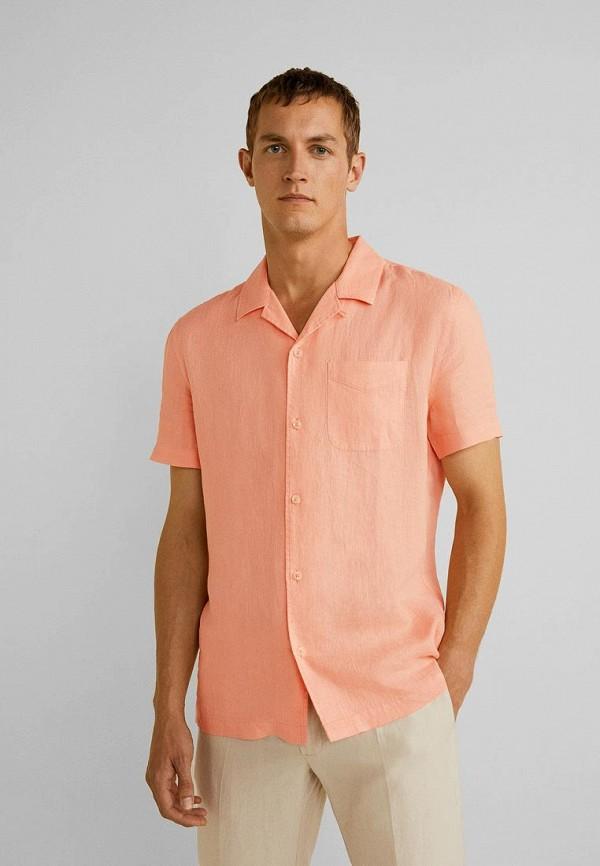 мужская рубашка mango man, оранжевая