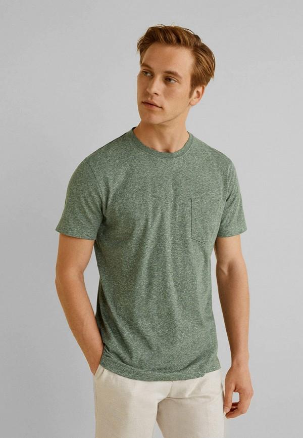 мужская футболка mango man, зеленая