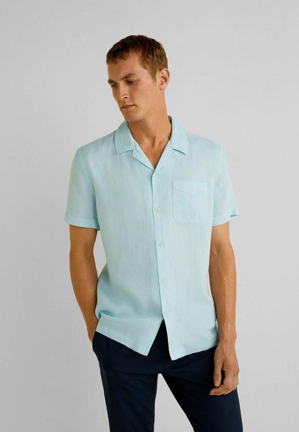 мужская рубашка mango man, голубая