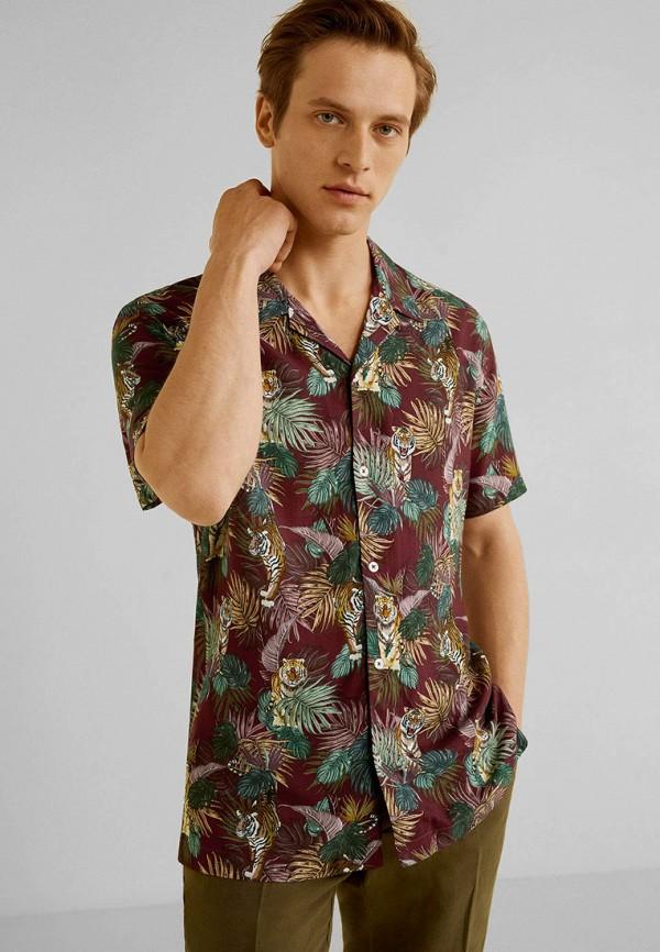 мужская рубашка mango man, бордовая