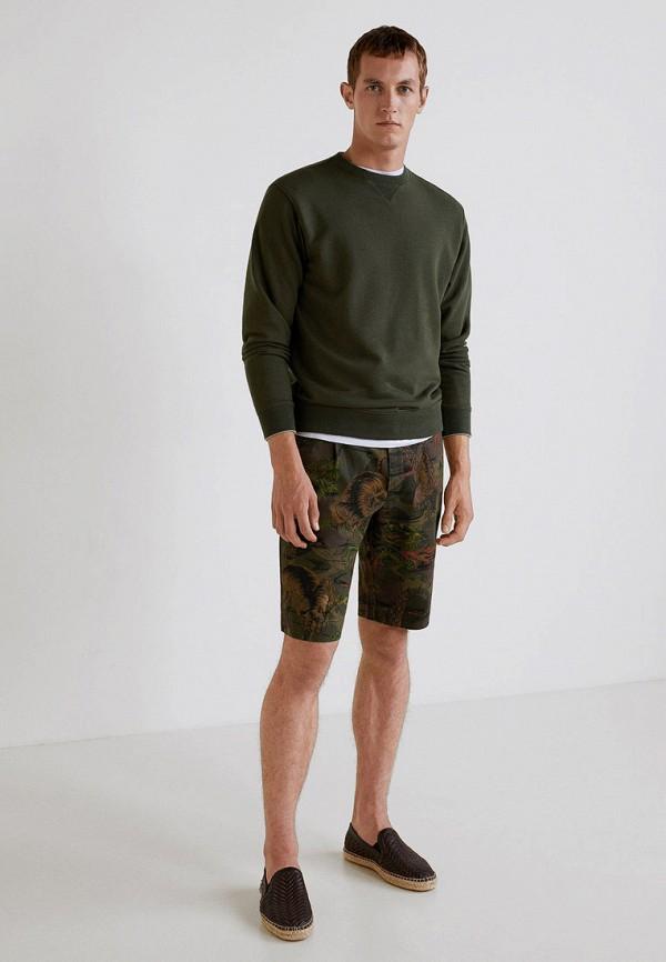 Фото 2 - мужские шорты Mango Man цвета хаки