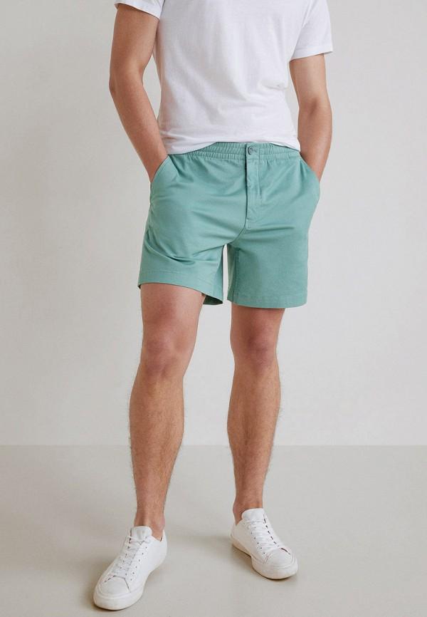 Купить мужские шорты Mango Man бирюзового цвета