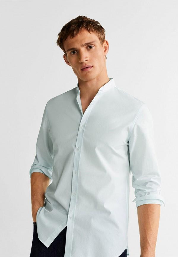 Фото - Мужскую рубашку Mango Man бирюзового цвета