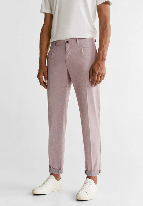 мужские повседневные брюки mango man, розовые