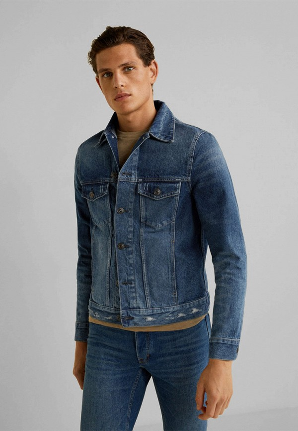 Фото - Куртку джинсовая Mango Man синего цвета