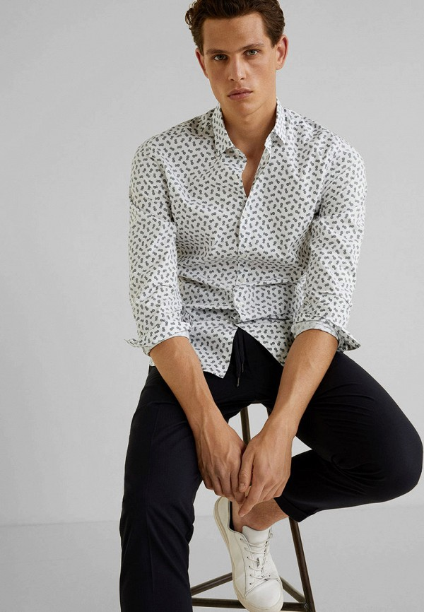 Фото 2 - мужскую рубашку Mango Man белого цвета
