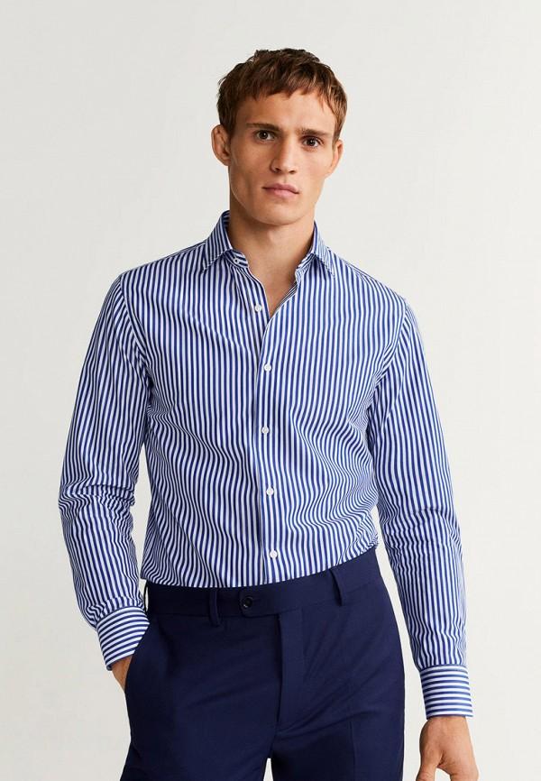 Фото 4 - мужскую рубашку Mango Man синего цвета