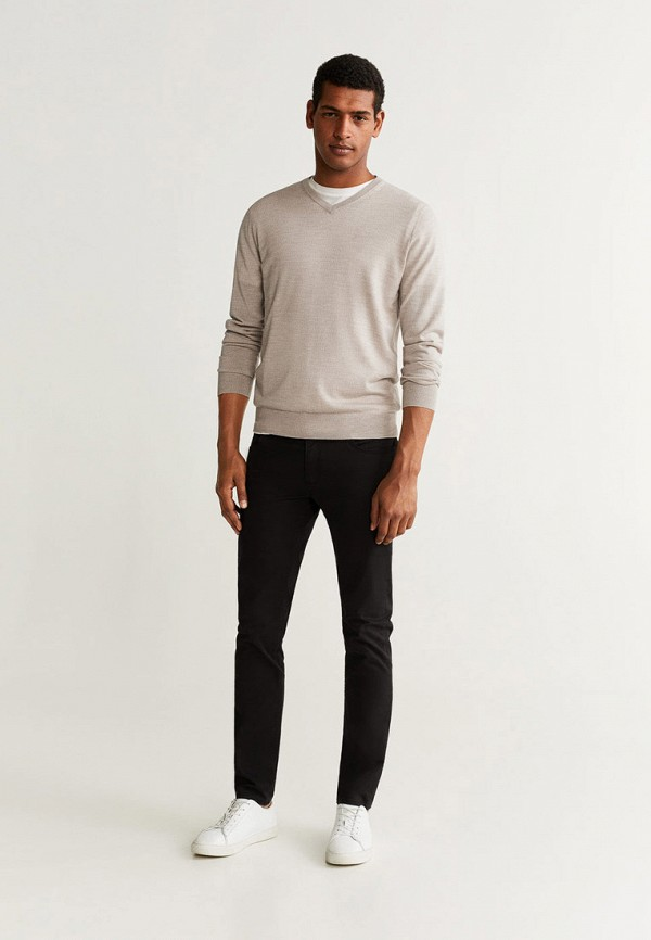 Фото 2 - мужской пуловер Mango Man бежевого цвета