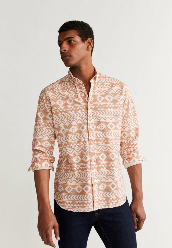 Фото - мужскую рубашку Mango Man оранжевого цвета