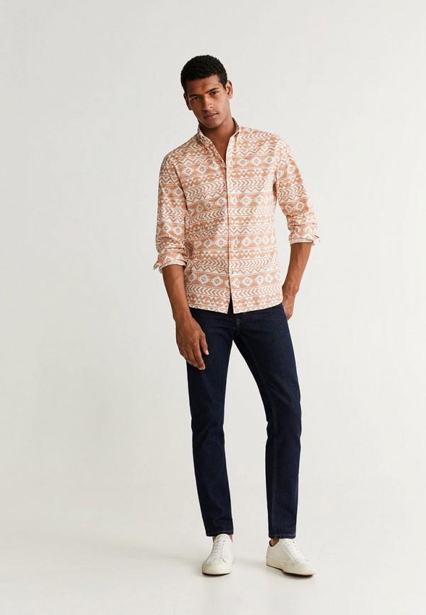 Фото 2 - мужскую рубашку Mango Man оранжевого цвета