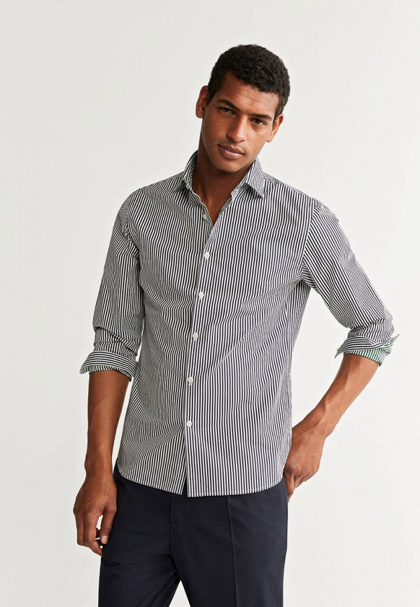 мужская рубашка с длинным рукавом mango man, синяя