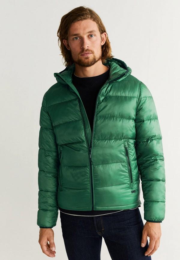 мужская куртка mango man, зеленая