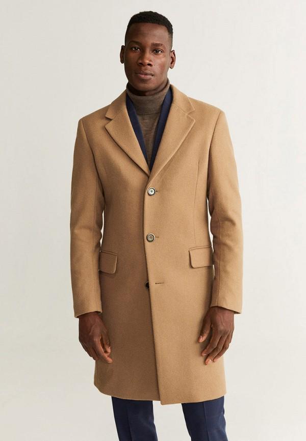 мужское пальто mango man, бежевое