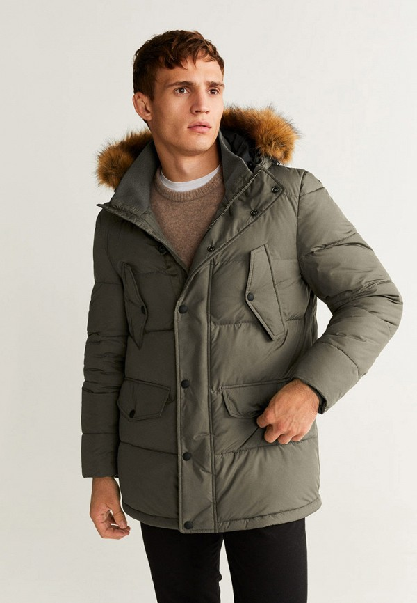 мужская куртка mango man, хаки