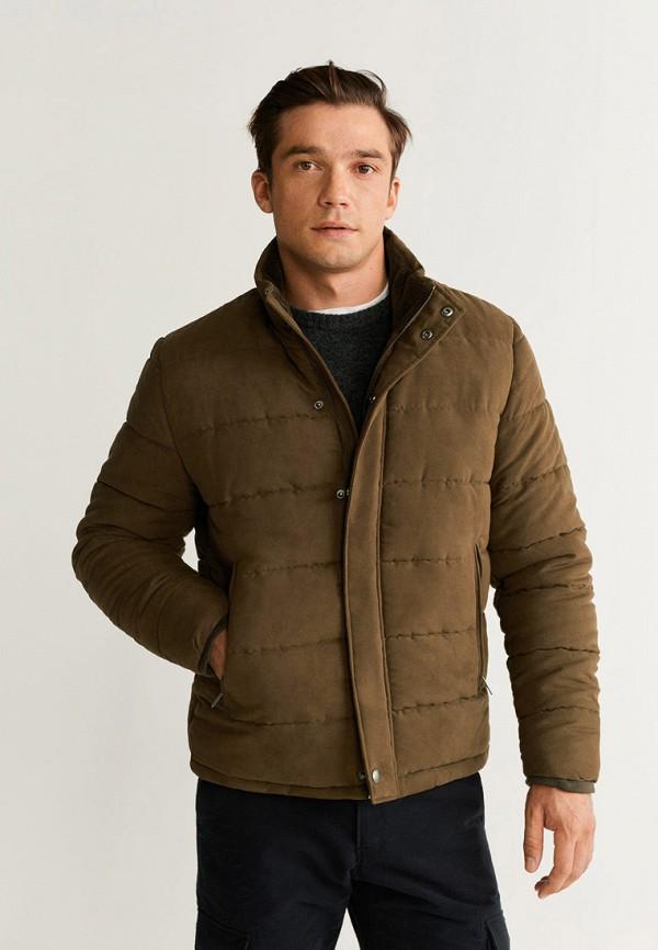 мужская куртка mango man, коричневая