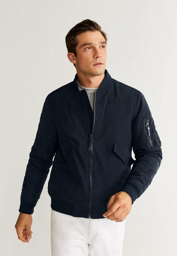 мужская куртка mango man, синяя