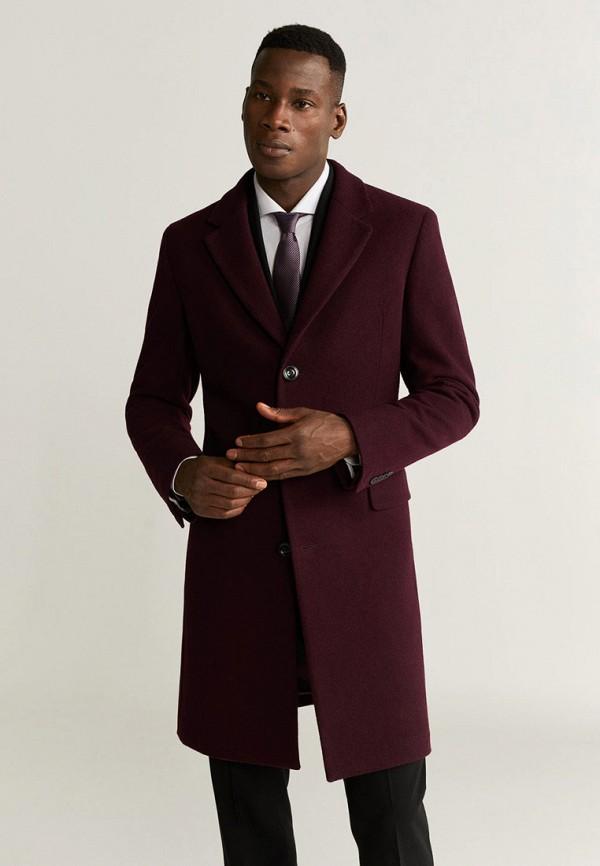 мужское пальто mango man, бордовое