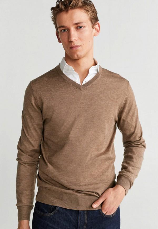 мужской пуловер mango man, коричневый
