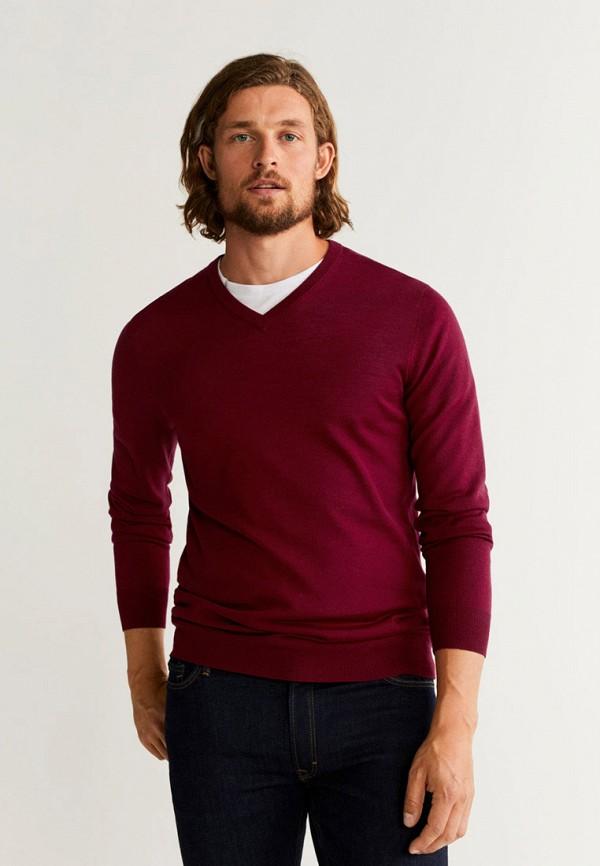 мужской пуловер mango man, бордовый
