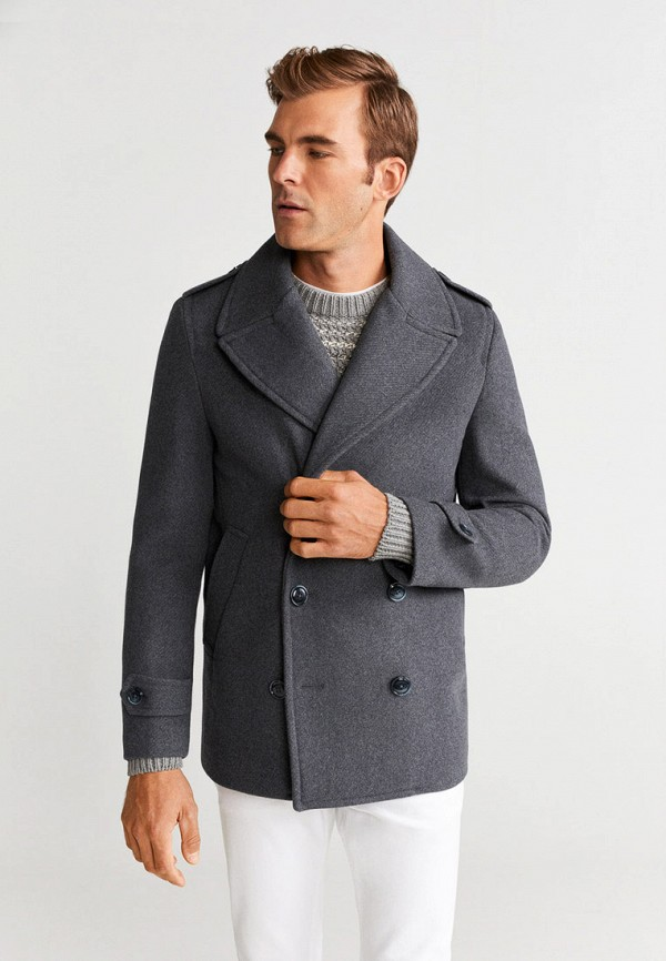 мужское пальто mango man, серое