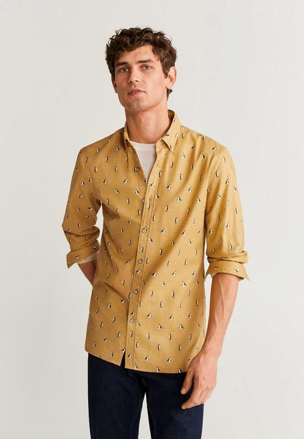 мужская рубашка с длинным рукавом mango man, желтая