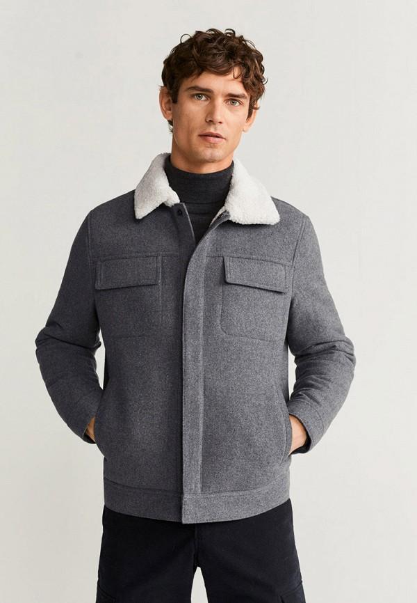 мужская куртка mango man, серая