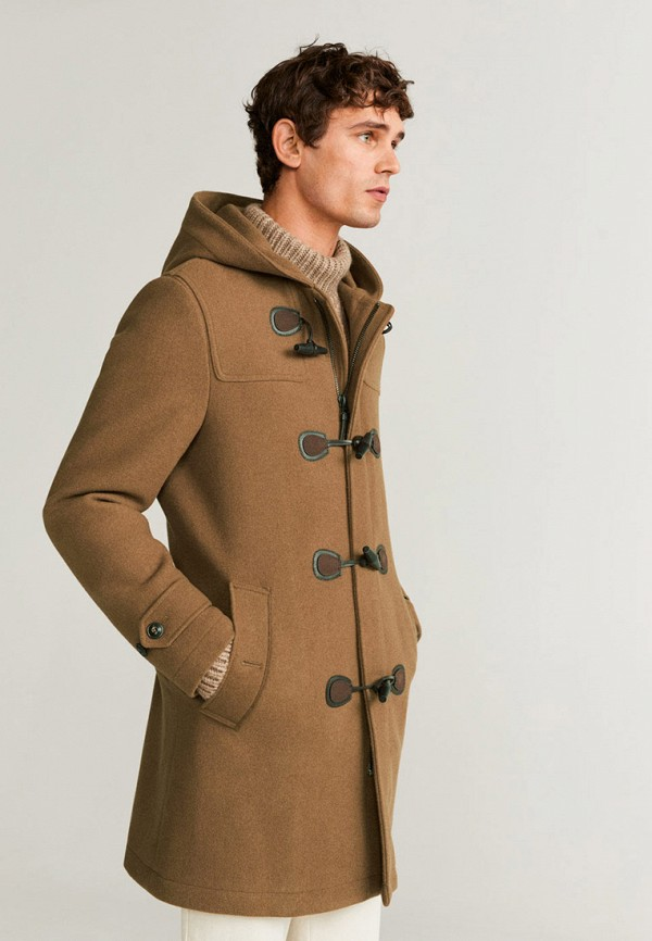 мужское пальто mango man, коричневое