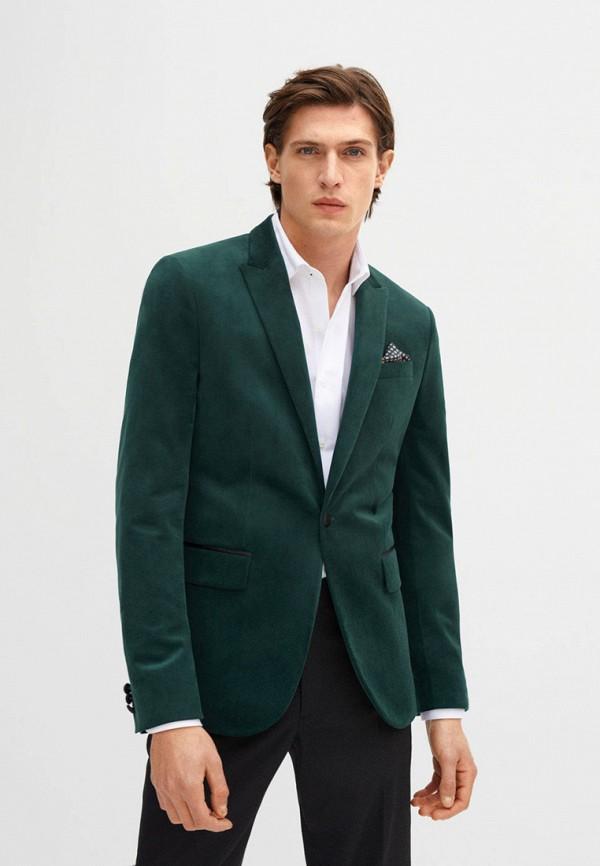 мужской пиджак mango man, зеленый