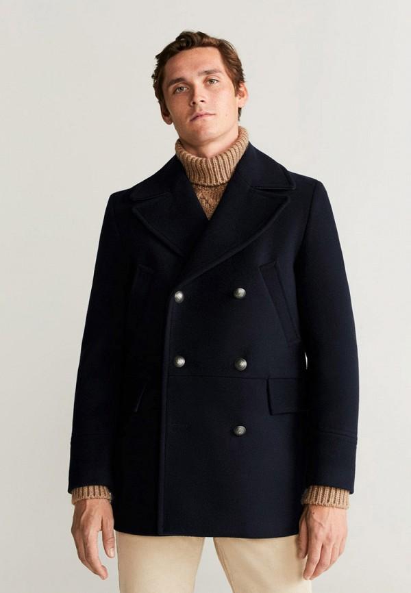 Фото - мужское пальто или плащ Mango Man синего цвета