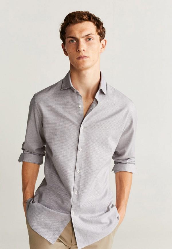 мужская рубашка с длинным рукавом mango man, серая