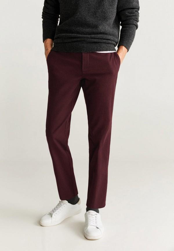 мужские повседневные брюки mango man, бордовые