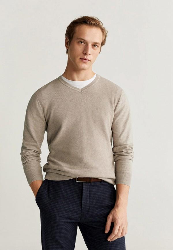 мужской пуловер mango man, бежевый