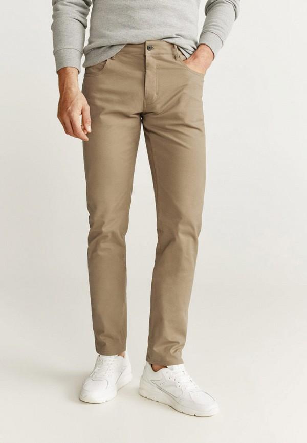 мужские зауженные брюки mango man, бежевые