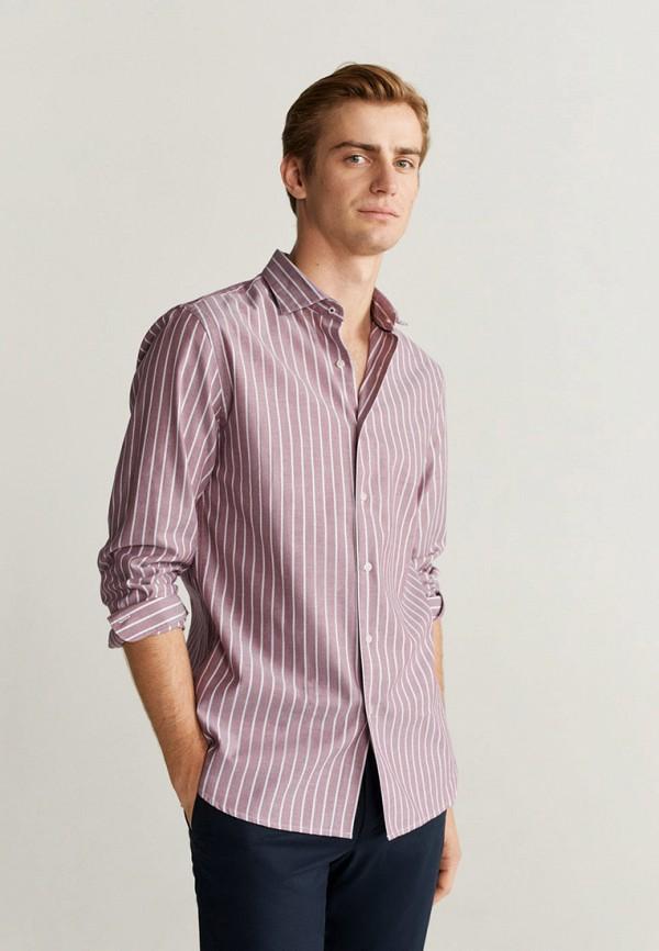 мужская рубашка с длинным рукавом mango man, розовая
