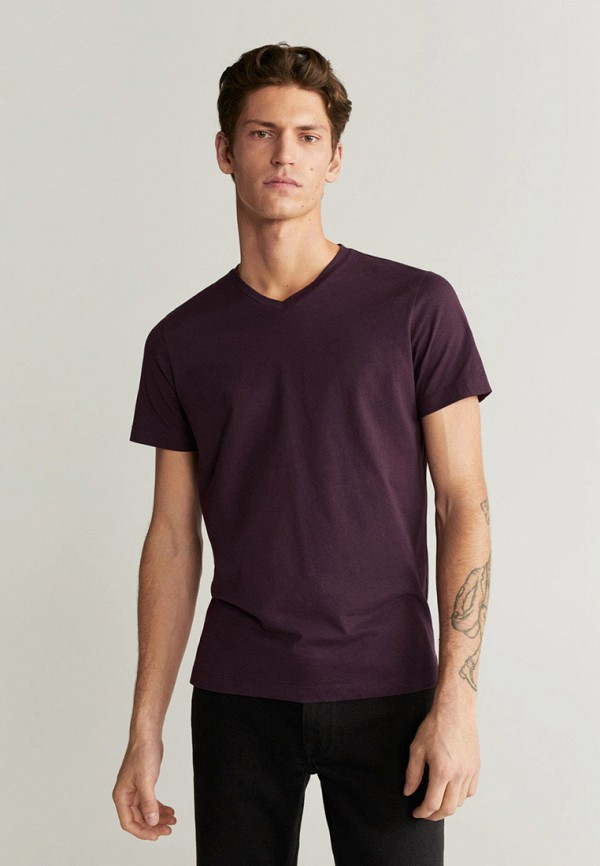 мужская футболка с коротким рукавом mango man, фиолетовая