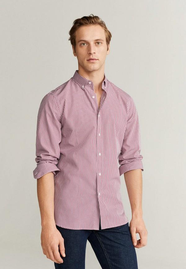 мужская рубашка с длинным рукавом mango man, красная