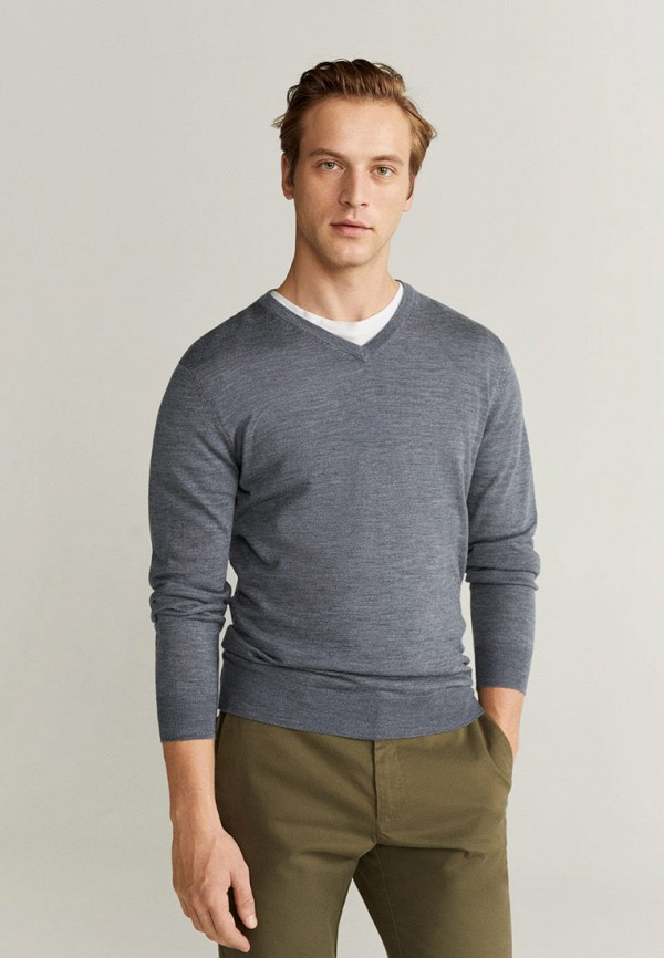 мужской пуловер mango man, серый