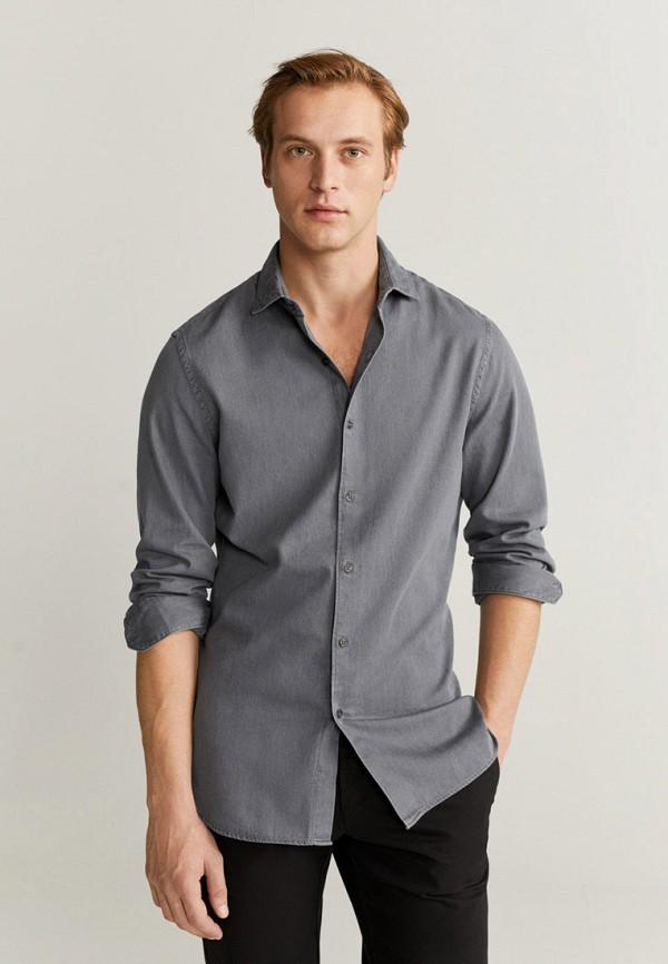 мужская джинсовые рубашка mango man, серая