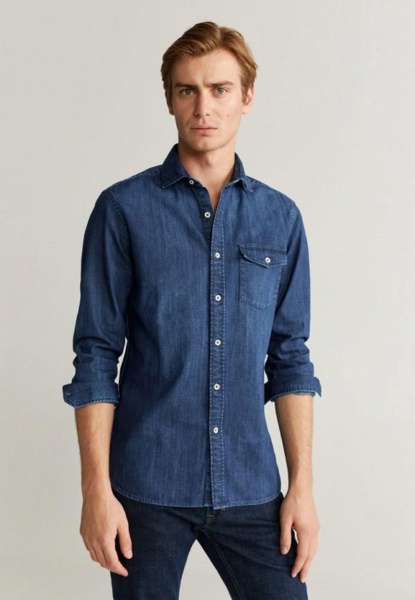 мужская джинсовые рубашка mango man, синяя