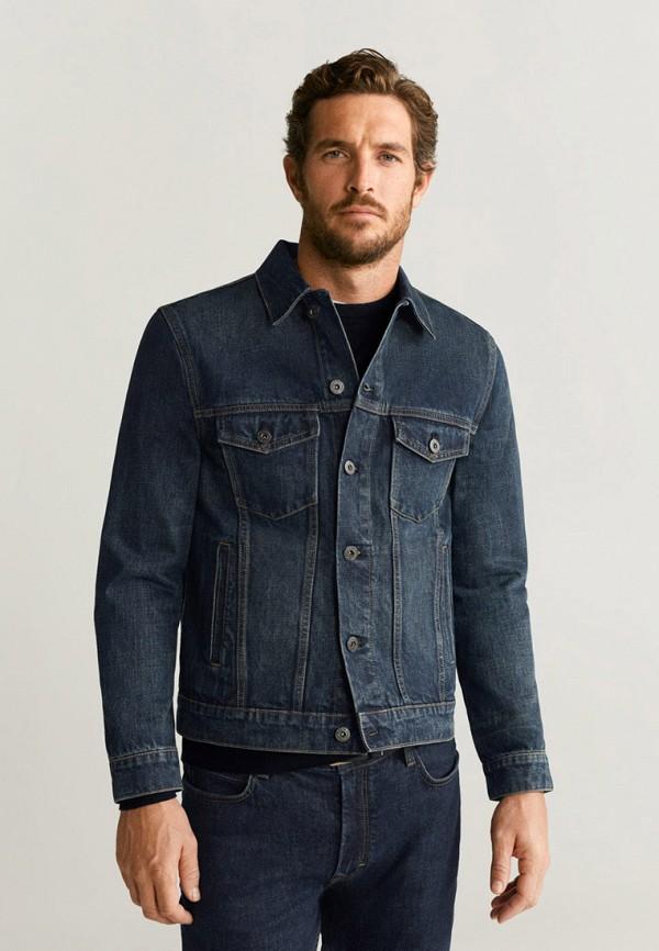 мужская джинсовые куртка mango man, синяя