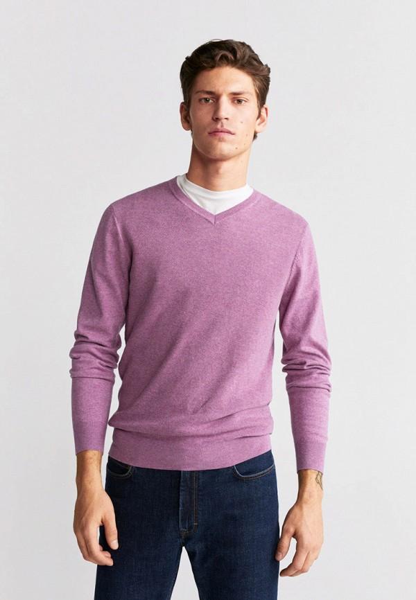 мужской пуловер mango man, фиолетовый
